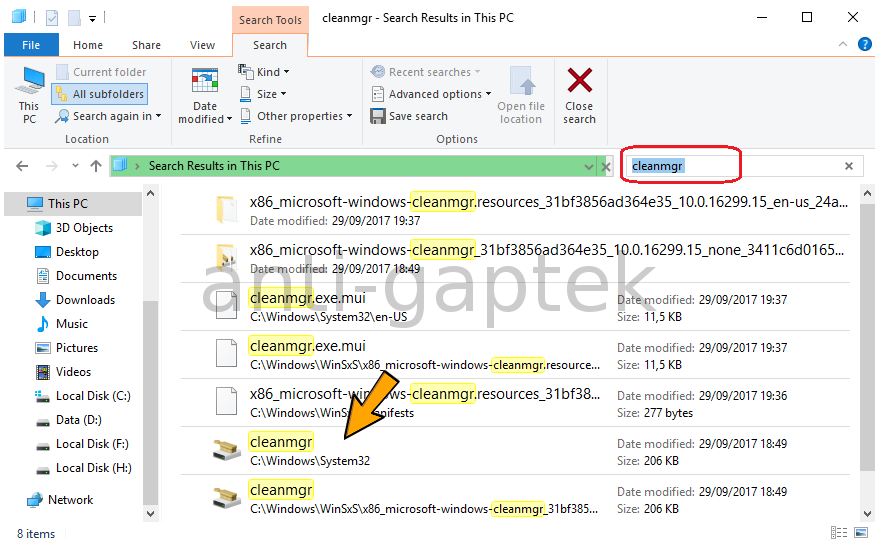 Membuka Disk Clean Up dengan File Search